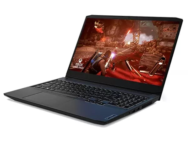 Lenovo IdeaPad Gaming 3i Gen 6 (15? Intel) laptop?3/4 left-front view with lid open and display showing a firefight in a game, with ?XBOX GAME PASS? logo superimposed over the lower left corner