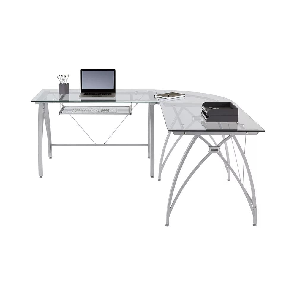 Realspace Vista Glass L Shaped Desk, L Shaped Desk Office Computer Glass Corner With Keyboard Tray Instructions