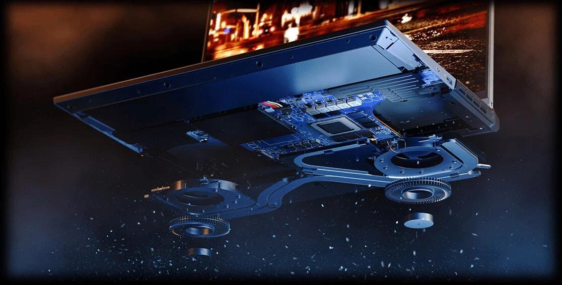 "Lenovo Legion 5 Pro (16"" AMD), top view showing keyboard"